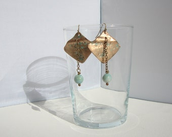 ethnic, bronze, turquoise earrings