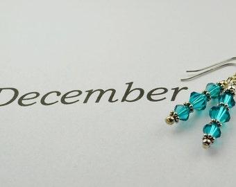December Blue Zircon Crystal Earrings