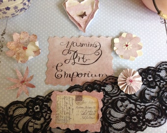 """Handmade """"Pretty and Pink"""" Set of 6 Paper Embellishments"""
