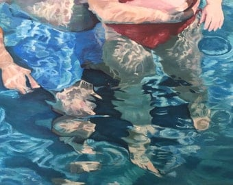 """Original oil painting of family in swimming pool, """"Trifectious,"""" 18"""" x 24"""""""