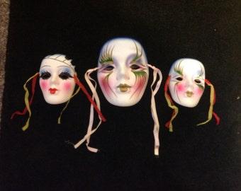 Ceramic Mardi Gras Clown Faces