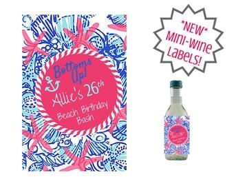 "Custom Birthday Mini Wine Label, Beach Birthday Bash ""Bottoms Up!"""