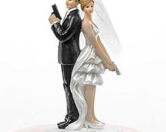 Secret Agent Couple Comical Cake Topper - Mr & Mrs Cake Topper