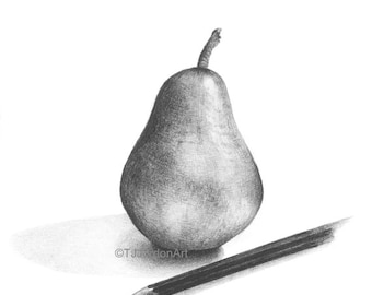 Print from original pencil drawing, pear, kitchen art, picture, fruit, black and white,