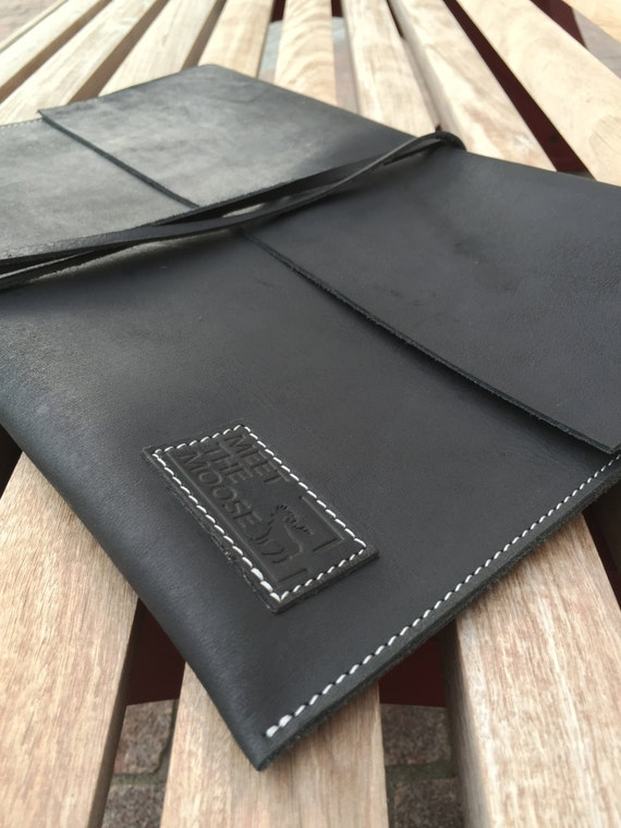 Black Leather Document Case, Leather Journal, iPad Sleeve, iPad Case, Leather Envelope for iPad AIR, iPad 3