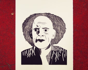 Poster back to the future - black and silver - linocut by hand - Back to the future, Emmett Brown - 38 x 49 cm - Emmett