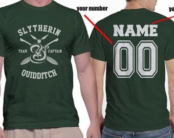 CAPTAIN - Custom back, Slyth Quidditch team Captain on MEN tee