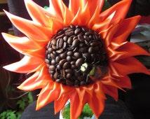Sunflower, topiary tree, wedding favor, home decor, caffe decor