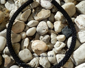 Beaded crocheted Black Necklace with Swarovskis