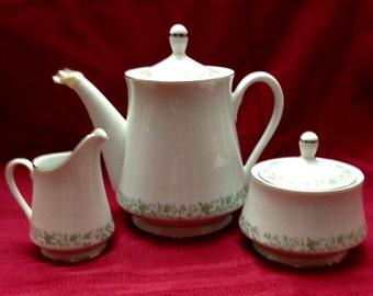 Mikasa Montclair Teapot With Creamer And Sugar Bowl