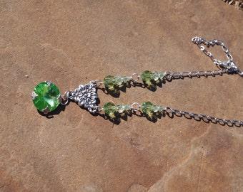 Peridot Green Swarovski crystal necklace