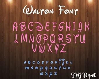 Walton Font svg file, font svg, cut file, instant download, disney font svg