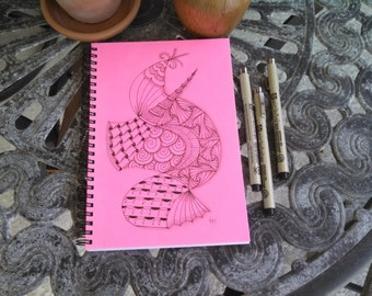 Spiral Writing Journal; Original Ink Drawing on Wire Bound Blank Notebook; Unique Gift; Small Sketchbook; Abstract Doodle