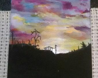 "Shadows of Dreams OOAK  Acrylic Painting 4"" x 5"""