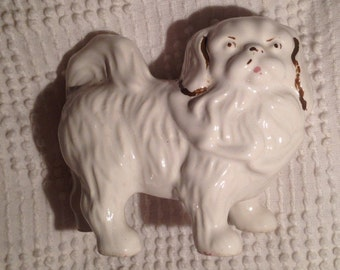 Vintage Porcelain Pekingese with Hand Painted Gold Accents Dog Mid Century Figurine