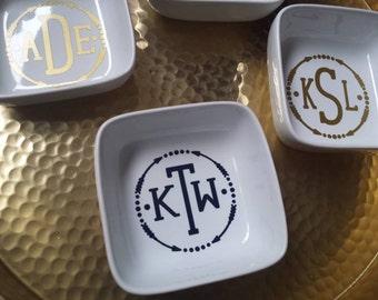 Custom Monogramed Ring Holder Arrows Wedding Engagement Bridal Shower Graduation Gift