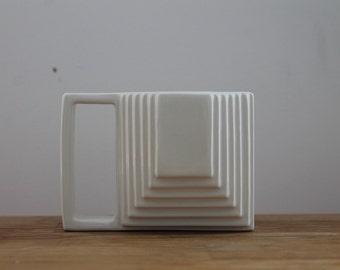 White Geometric Mug