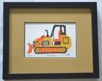 Bulldozer Lino Cut Print - One of my building site construction themed prints