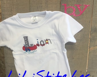 Embroidery Name T shirt using Great Outdoors font.