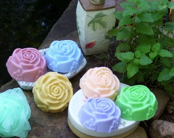 Luxury Rose Soap - 4 oz Natural, Moisturizing, Detergent Free with Shea Butter, Cocoa Butter, Mango Butter - Choice Scent