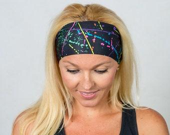 Yoga Headband Running Headband Black Wide Bohemian Headband Black Fitness Headband Women Headband Moisture Wicking Headband No Slip Headband