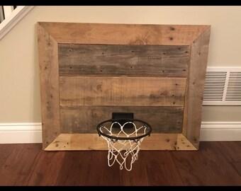Reclaimed wood basketball hoop