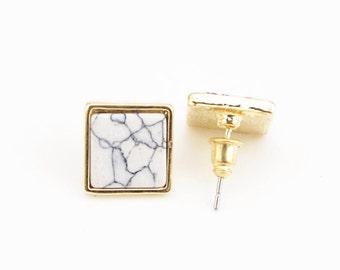 Marble Square Earring, Modern Earring, Dainty Earring, Simple Earring, Square Stud Earring, Statement Earring, Geometric Earring, For her,