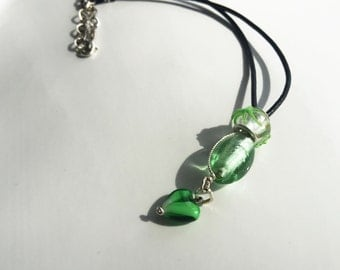 Black Leather Necklace, Green Pendant Necklace, Boho Chic Necklace, Glass Bead Necklace