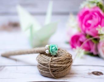 Wedding Guest Book Pen Wedding GuestBook Pen Rustic Pen Chic Wedding Mint  Aqua Flower