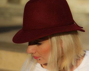 Hat felt red bordeaux / Made in France