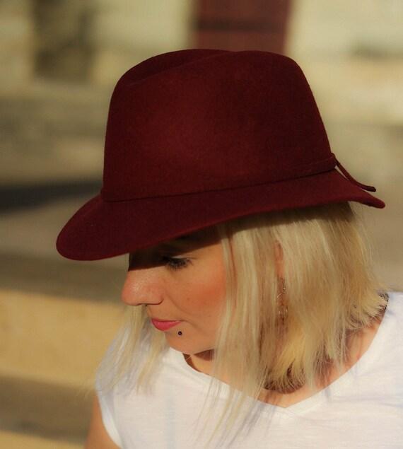 chapeau feutre couleur rouge bordeaux made in france. Black Bedroom Furniture Sets. Home Design Ideas