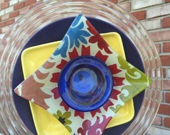 F-113 Glass Flower, Yellow and Blue Garden Art