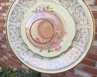 F-119 Glass Flower, Vintage Pink Garden Art