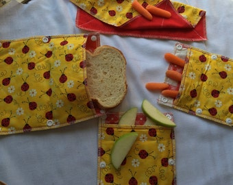 reusable snack bags,upcycled  lunch set, ECO friendly alternative to plastic bags, lady bugs , water resistant snack bags adjustable size