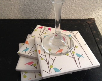 Birds Tile Coaster, drink tile coaster, Ceramic coasters, housewarming gift, birthday gift. Set of 4