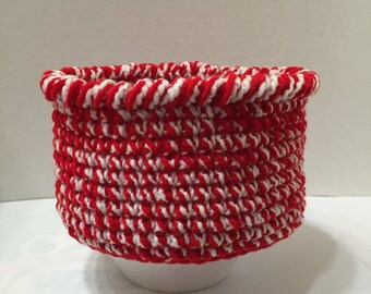 Crocheted Round Basket, Crocheted Red/White Basket #1, Crocheted Bowl, Holiday Display Basket