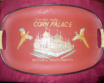 Vintage Worlds Only Corn Palace with Pheasants Tray Mitchell South Dakota 1950s