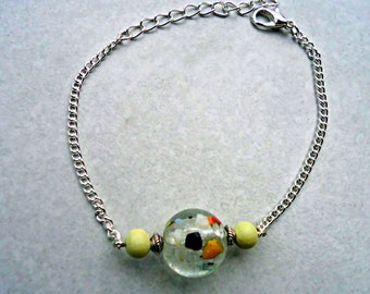 Yellow bracelet, yellow and silver bracelet