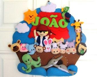 Personalized felt handmade wall hanging - Noah's Ark