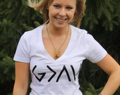 God is Greater than the Highs and Lows V-Neck Shirt