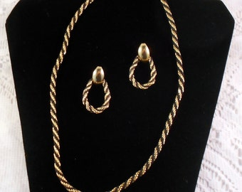 TRIFARI Twisted Rope Necklace and Earrings Demi Parure - Gold and Black Necklace with Matching Pierced Earrings