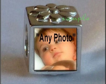 """Personalized """"Your Photo"""" or """"Any Image"""" Custom """"Baby"""" PHOTO BEAD fits Pandora Style Bracelet Solid Sterling Silver (925 stamp)"""