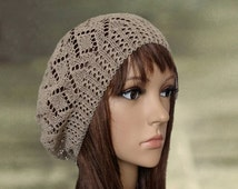 Slouchy beanie beret, Tan summer beret, Knitted slouch hat, Brown cotton beret, Crochet lace beret, Slouch boho beret, Bohemian beanie hat