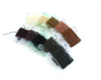 Sajou Fil au Chinois #532 Lin Cable Thread 10 color sample pack (3 meters each) - Earth Colors