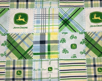John Deere Madras Plaid Blue Green Yellow Boys Patchwork Apparel Quilting 100% Cotton Fabric FULL Yard