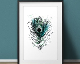 """Art print """"Peacock feather"""" A4"""