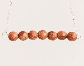 Brown Goldstone Line Necklace