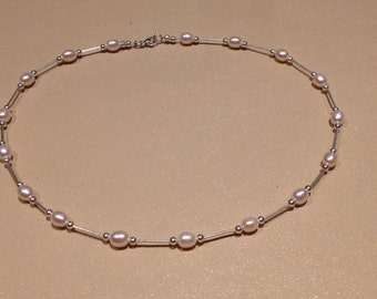 Sterling silver & pearl necklace