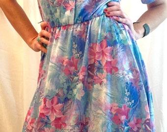 Blue & Pink Flower Dress