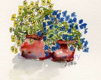 Original Watercolor Painting, Yellow and Blue Flowers in Terra Cotta, Original Art, 5x7 Painting